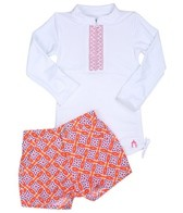 Cabana Life Girls' Sunset Beach L/S Rashguard Set (2T-4T)