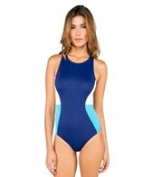 DKNY Metro Block Color Block High Neck One Piece