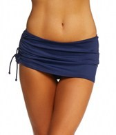 DKNY Brigitte Solid Side Tie Swim Skirted Bikini Bottom