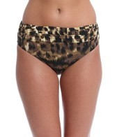 Carmen Marc Valvo Zanzibar Leopard Shirred Bottom