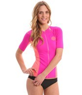 Rip Curl Women's Party Wave S/S Front Zip Rashguard