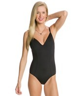 Kenneth Cole Lace Me Up V-Neck One Piece