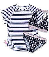 Snapper Rock Girls' Navy Seahorse 3 Piece Rashguard Set (8-14yrs)