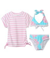 Snapper Rock Girls' Hibiscus 3 Piece Rashguard Set (4-6yrs)