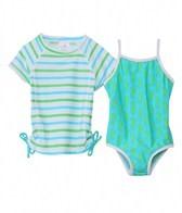 Snapper Rock Girls' Marine Seahorse S/S Rashguard Swim Set (4-6yrs)