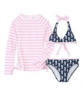 Snapper Rock Girls' Navy Sea Horse L/S Swim Set (8-14yrs)