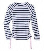 Snapper Rock Girls' Navy Stripe L/S Rashguard (8-14yrs)
