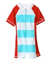 Snapper Rock Baby Boys' Aqua/Red Stripe S/S Sunsuit (0-2yrs)