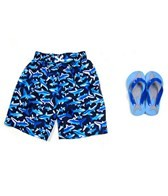 Jump N Splash Boys White Shark Swim Trunk w/FREE Flip Flops