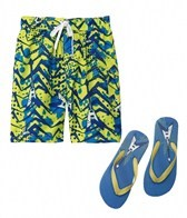 Jump N Splash Boys Guitar Swim Trunk w/FREE Flip Flops