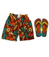 Jump N Splash Boys Ride The Waves Swim Trunk w/FREE Flip Flops