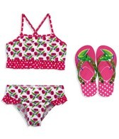 Jump N Splash Girls Cherry Sport Top Set w/FREE Flip Flops