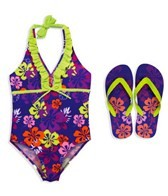 Jump N Splash Girls Floral One Piece w/FREE Flip Flops
