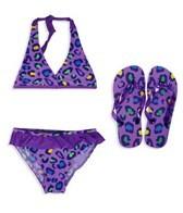 Jump N Splash Girls Leopard Halter Set w/FREE Flip Flops