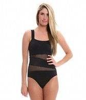 DKNY Solid Mesh Splice One Piece