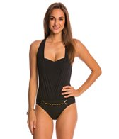 BLEU Rod Beattie Chain Reaction Belted Halter One Piece
