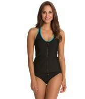 Nautica Women's Full Speed Zip Front Tankini Top