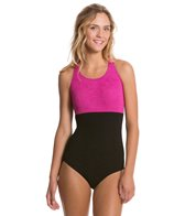 Sporti Textured High Neck Colorblock Slimsuit