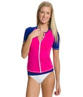 Tommy Bahama Deck Piping S/S Zip Up Rashguard