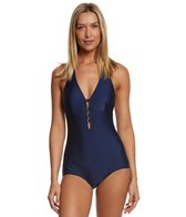Bettie Page Button Halter One Piece