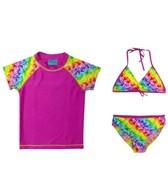 Jump N Splash Girls' Pink Butterflies 3 Piece Rashguard Set w/FREE Goggles