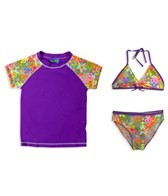 Jump N Splash Girls' Rainbow Stars 3 Piece Rashguard Set w/FREE Goggles