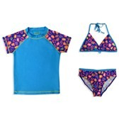 Jump N Splash Girls' Blue Leopard Print 3 Piece Rashguard Set w/FREE Goggles