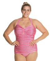 Esther Williams Plus Gingham Classic Sheath One Piece