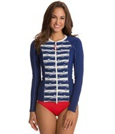 Sperry Top-Sider Women's Knotty and Nice Zip Front L/S Rashguard