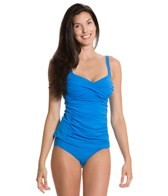 Sunsets Tile Blue Shirred Tankini Top