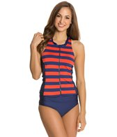 Splendid Marcel Stripe High Neck Tankini Top