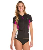 Nike Beach Women's Colorblock S/S Hydro UV Zip Up Top