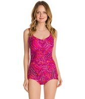 Maxine Ethnic Twist Shirred Front Girl Leg One Piece