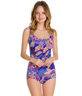 Maxine Paisley Swirl Shirred Front Girl Leg One Piece