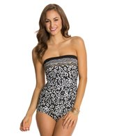 Maxine Border Skin Side Shirred Bandeau One Piece