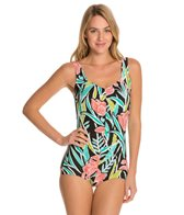 Maxine Linear Flower Shirred Front Girl Leg One Piece