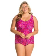 Maxine Plus Size Ethnic Twist Shirred Front Girl Leg One Piece