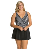 Maxine Plus Size Diamond Girl Asymmetrical Swimdress