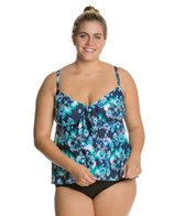 Maxine Plus Size Diamond Diva Tie Front Tankini Top