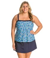 Maxine Plus Size Ikat Forever Bandeau Faux Skirtini One Piece