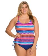 24th & Ocean Plus Size Savanna Racerback Tankini Top