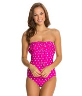 Beach Diva Hot Dot Ruffle Bandeau One Piece