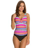 Beach Diva Fancy Tribe Surplice Shirred One Piece