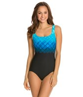 Reebok Fitness Underwater Plaid U-Back One Piece