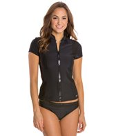 Speedo Fitness Short Sleeve Zip Front Rashguard