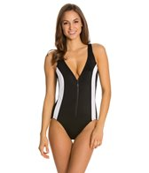 Longitude Colorblock Zip Front Tank One Piece