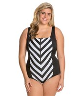 Longitude Plus Size All Lined Up Squareneck Tank One Piece