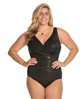 Longitude Plus Size Gold Rush Side Shirred One Piece