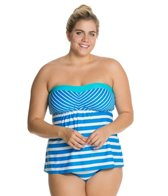 Beach House Plus Ship Shape Stripe  A-Line Bandeau Tankini Top