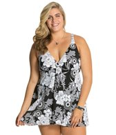 Penbrooke Plus Size Sunflower Fly Away Swimdress